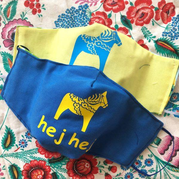 Dala Horse Face Mask Covering Hej Hej