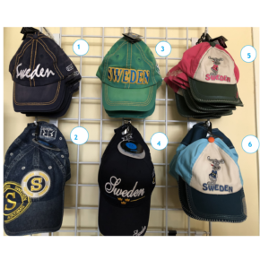 Sweden baseball caps, embroidered hats, kids and adult sizes
