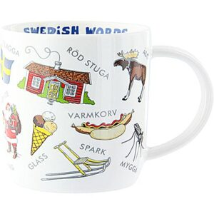 A white mug featuring illustrated iconic Swedish objects and words